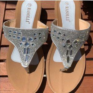 NEW Rasolli Sparkle Rhinestone Sandals Flip Flop